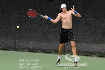 John Isner (USA) practices on Monday during the Atlanta Tennis Championships at the Racquet Club of the South in Norcross, GA.