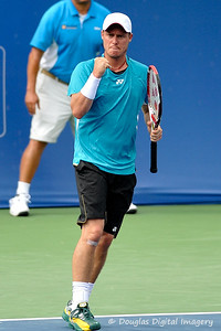 Lleyton Hewitt (AUS) pumps his fist after winning the point, set, and match during the first round.  Lleyton Hewitt defeated Phillip Simmonds in straight sets 6-4, 6-4 in First Round Action on Tuesday in the Atlanta Tennis Championships at the Racquet Club of the South in Norcross, GA.