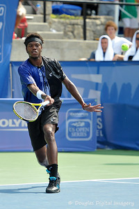 Phillip Simmonds (USA) blocks a shot back to Lleyton Hewitt (AUS) during the first round.  Lleyton Hewitt defeated Phillip Simmonds in straight sets 6-4, 6-4 in First Round Action on Tuesday in the Atlanta Tennis Championships at the Racquet Club of the South in Norcross, GA.