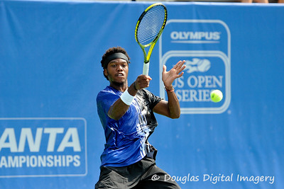 Phillip Simmonds (USA) powers a forehand back to Lleyton Hewitt (AUS) during the first round.  Lleyton Hewitt defeated Phillip Simmonds in straight sets 6-4, 6-4 in First Round Action on Tuesday in the Atlanta Tennis Championships at the Racquet Club of the South in Norcross, GA.