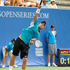 Lleyton Hewitt (AUS) hits a serve during the first round.  Lleyton Hewitt defeated Phillip Simmonds in straight sets 6-4, 6-4 in First Round Action on Tuesday in the Atlanta Tennis Championships at the Racquet Club of the South in Norcross, GA.
