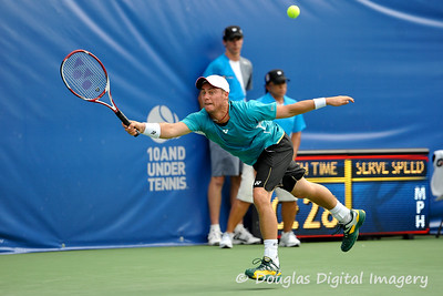 Lleyton Hewitt (AUS) reaches for a serve during the first round.  Lleyton Hewitt defeated Phillip Simmonds in straight sets 6-4, 6-4 in First Round Action on Tuesday in the Atlanta Tennis Championships at the Racquet Club of the South in Norcross, GA.