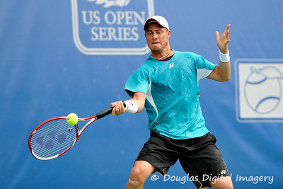 Lleyton Hewitt (AUS) powers a forehand during the first round.  Lleyton Hewitt defeated Phillip Simmonds in straight sets 6-4, 6-4 in First Round Action on Tuesday in the Atlanta Tennis Championships at the Racquet Club of the South in Norcross, GA.