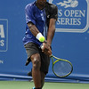 Phillip Simmonds (USA) hits a two handed backhand during the first round.  Lleyton Hewitt defeated Phillip Simmonds in straight sets 6-4, 6-4 in First Round Action on Tuesday in the Atlanta Tennis Championships at the Racquet Club of the South in Norcross, GA.