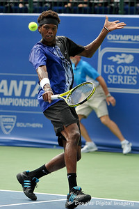 Phillip Simmonds (USA) slices a backhand return during the first round.  Lleyton Hewitt defeated Phillip Simmonds in straight sets 6-4, 6-4 in First Round Action on Tuesday in the Atlanta Tennis Championships at the Racquet Club of the South in Norcross, GA.