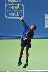 Phillip Simmonds (USA) hits a serve during the first round.  Lleyton Hewitt defeated Phillip Simmonds in straight sets 6-4, 6-4 in First Round Action on Tuesday in the Atlanta Tennis Championships at the Racquet Club of the South in Norcross, GA.