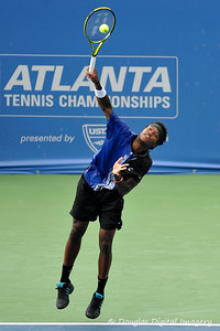 Phillip Simmonds (USA) serves during the first round.  Lleyton Hewitt defeated Phillip Simmonds in straight sets 6-4, 6-4 in First Round Action on Tuesday in the Atlanta Tennis Championships at the Racquet Club of the South in Norcross, GA.