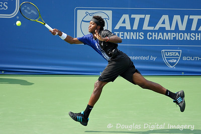 Phillip Simmonds (USA) hits a running forehand during the first round.  Lleyton Hewitt defeated Phillip Simmonds in straight sets 6-4, 6-4 in First Round Action on Tuesday in the Atlanta Tennis Championships at the Racquet Club of the South in Norcross, GA.
