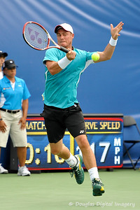 Lleyton Hewitt (AUS) hits a forehand during the first round.  Lleyton Hewitt defeated Phillip Simmonds in straight sets 6-4, 6-4 in First Round Action on Tuesday in the Atlanta Tennis Championships at the Racquet Club of the South in Norcross, GA.