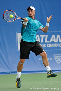 Lleyton Hewitt (AUS) hits a picturesque forehand during the first round.  Lleyton Hewitt defeated Phillip Simmonds in straight sets 6-4, 6-4 in First Round Action on Tuesday in the Atlanta Tennis Championships at the Racquet Club of the South in Norcross, GA.