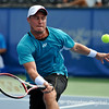 Lleyton Hewitt (AUS) provides some touch to a forehand volley during the first round.  Lleyton Hewitt defeated Phillip Simmonds in straight sets 6-4, 6-4 in First Round Action on Tuesday in the Atlanta Tennis Championships at the Racquet Club of the South in Norcross, GA.
