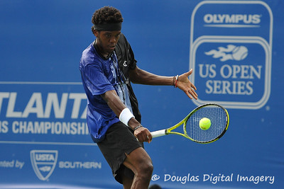 Phillip Simmonds (USA) hits a slice backhand during the first round.  Lleyton Hewitt defeated Phillip Simmonds in straight sets 6-4, 6-4 in First Round Action on Tuesday in the Atlanta Tennis Championships at the Racquet Club of the South in Norcross, GA.
