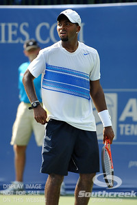 Donald Young (USA) looks a bit frustrated during the first round.  Michael Russell defeated Donald Young in straight sets 6-0, 6-3 in First Round Action on Monday of the Atlanta Tennis Championships at the Racquet Club of the South in Norcross, GA.