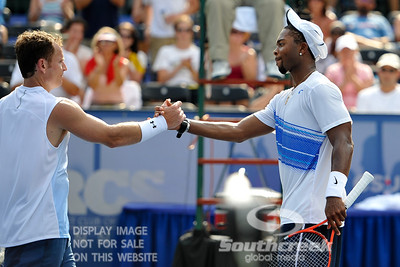 Donald Young (USA) congratulates Michael Russell (USA) after their first round match.  Michael Russell defeated Donald Young in straight sets 6-0, 6-3 in First Round Action on Monday of the Atlanta Tennis Championships at the Racquet Club of the South in Norcross, GA.