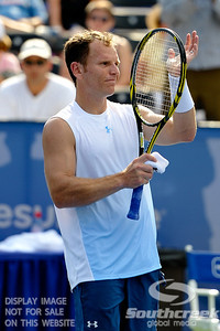 Michael Russell (USA) thanks the fans for their applause after his first round match.  Michael Russell defeated Donald Young in straight sets 6-0, 6-3 in First Round Action on Monday of the Atlanta Tennis Championships at the Racquet Club of the South in Norcross, GA.