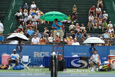 Donald Young (USA) and Michael Russell (USA) sit and wait for the trainer to arrive during the first round.  Michael Russell defeated Donald Young in straight sets 6-0, 6-3 in First Round Action on Monday of the Atlanta Tennis Championships at the Racquet Club of the South in Norcross, GA.