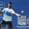 Donald Young (USA) reaches for a forehand against Michael Russell (USA) during the first round.  Michael Russell defeated Donald Young in straight sets 6-0, 6-3 in First Round Action on Monday of the Atlanta Tennis Championships at the Racquet Club of the South in Norcross, GA.