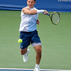 Michael Russell (USA) hits a strong forehand during the first round.  Michael Russell defeated Donald Young in straight sets 6-0, 6-3 in First Round Action on Monday of the Atlanta Tennis Championships at the Racquet Club of the South in Norcross, GA.
