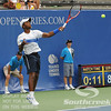 Donald Young (USA) hits a forehand against Michael Russell (USA) during the first round.  Michael Russell defeated Donald Young in straight sets 6-0, 6-3 in First Round Action on Monday of the Atlanta Tennis Championships at the Racquet Club of the South in Norcross, GA.