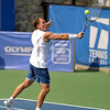 Michael Russell (USA) hits a backhand volley during the first round.  Michael Russell defeated Donald Young in straight sets 6-0, 6-3 in First Round Action on Monday of the Atlanta Tennis Championships at the Racquet Club of the South in Norcross, GA.