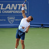 Michael Russell (USA) strikes a powerful serve during the first round.  Michael Russell defeated Donald Young in straight sets 6-0, 6-3 in First Round Action on Monday of the Atlanta Tennis Championships at the Racquet Club of the South in Norcross, GA.