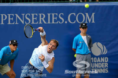 Michael Russell (USA) watches his serve during the first round.  Michael Russell defeated Donald Young in straight sets 6-0, 6-3 in First Round Action on Monday of the Atlanta Tennis Championships at the Racquet Club of the South in Norcross, GA.
