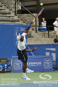 Donald Young (USA) serves to Michael Russell (USA) during the first round.  Michael Russell defeated Donald Young in straight sets 6-0, 6-3 in First Round Action on Monday of the Atlanta Tennis Championships at the Racquet Club of the South in Norcross, GA.