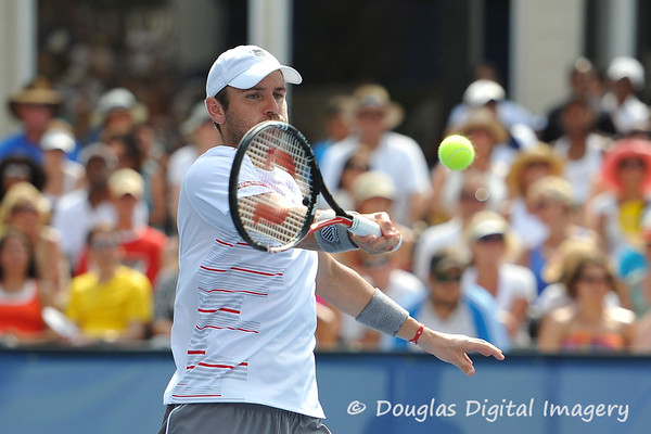 Mardy Fish (USA) hits a forehand volley during the championship match.  Mardy Fish defeated John Isner in three sets 3-6, 7-6, 6-2 in the Championship Match on Sunday in the Atlanta Tennis Championships at the Racquet Club of the South in Norcross, GA.
