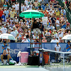 Mardy Fish (USA) and John Isner (USA) rest in a changeover during the championship match.  Mardy Fish defeated John Isner in three sets 3-6, 7-6, 6-2 in the Championship Match on Sunday in the Atlanta Tennis Championships at the Racquet Club of the South in Norcross, GA.