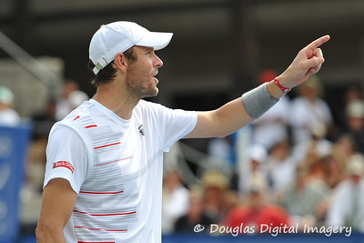 Mardy Fish (USA) voices his displeasure at a reviewed call during the championship match.  Mardy Fish defeated John Isner in three sets 3-6, 7-6, 6-2 in the Championship Match on Sunday in the Atlanta Tennis Championships at the Racquet Club of the South in Norcross, GA.