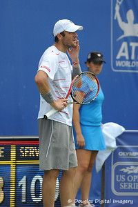 Mardy Fish (USA) waits for the replay on a close call during the championship match.  Mardy Fish defeated John Isner in three sets 3-6, 7-6, 6-2 in the Championship Match on Sunday in the Atlanta Tennis Championships at the Racquet Club of the South in Norcross, GA.