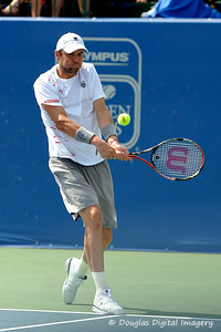 Mardy Fish (USA) hits a backhand during the championship match.  Mardy Fish defeated John Isner in three sets 3-6, 7-6, 6-2 in the Championship Match on Sunday in the Atlanta Tennis Championships at the Racquet Club of the South in Norcross, GA.