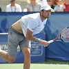 Mardy Fish (USA) watches his serve against John Isner (USA) during the championship match.  Mardy Fish defeated John Isner in three sets 3-6, 7-6, 6-2 in the Championship Match on Sunday in the Atlanta Tennis Championships at the Racquet Club of the South in Norcross, GA.