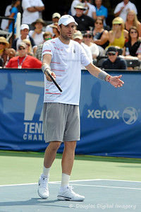 Mardy Fish (USA) continues to voice his displeasure at the call to the umpire during the championship match.  Mardy Fish defeated John Isner in three sets 3-6, 7-6, 6-2 in the Championship Match on Sunday in the Atlanta Tennis Championships at the Racquet Club of the South in Norcross, GA.
