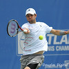 Mardy Fish (USA) hits a forehand against John Isner (USA) during the championship match.  Mardy Fish defeated John Isner in three sets 3-6, 7-6, 6-2 in the Championship Match on Sunday in the Atlanta Tennis Championships at the Racquet Club of the South in Norcross, GA.