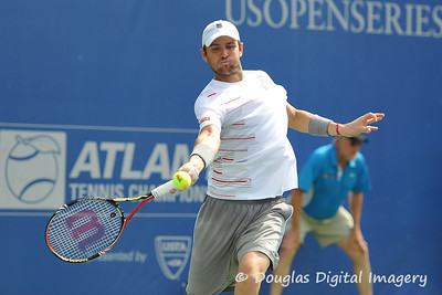 Mardy Fish (USA) hits a forehand during the championship match.  Mardy Fish defeated John Isner in three sets 3-6, 7-6, 6-2 in the Championship Match on Sunday in the Atlanta Tennis Championships at the Racquet Club of the South in Norcross, GA.