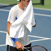 John Isner (USA) tries to keep the sweat at bay during the championship match.  Mardy Fish defeated John Isner in three sets 3-6, 7-6, 6-2 in the Championship Match on Sunday in the Atlanta Tennis Championships at the Racquet Club of the South in Norcross, GA.