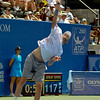 Mardy Fish (USA) serves to John Isner (USA) during the championship match.  Mardy Fish defeated John Isner in three sets 3-6, 7-6, 6-2 in the Championship Match on Sunday in the Atlanta Tennis Championships at the Racquet Club of the South in Norcross, GA.