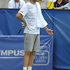 Mardy Fish (USA) voices his displeasure to the chair umpire regarding a call during the championship match.  Mardy Fish defeated John Isner in three sets 3-6, 7-6, 6-2 in the Championship Match on Sunday in the Atlanta Tennis Championships at the Racquet Club of the South in Norcross, GA.