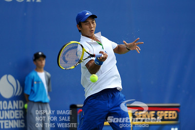 Yen-Hsun Lu (TPE) hits a forehand against John Isner (USA) during their quarterfinal match.  John Isner defeated Yen-Hsun Lu in straight sets 6-1, 6-2 in Quarterfinal Action on Friday  in the Atlanta Tennis Championships at the Racquet Club of the South in Norcross, GA.