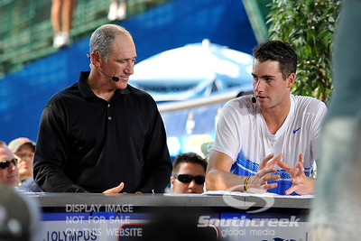 John Isner (USA) answers questions from ESPN's Brad Gilbert in his post match interview.  John Isner defeated Yen-Hsun Lu in straight sets 6-1, 6-2 in Quarterfinal Action on Friday  in the Atlanta Tennis Championships at the Racquet Club of the South in Norcross, GA.