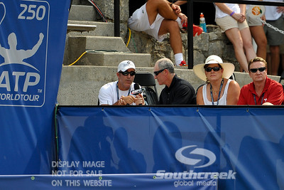 ESPN's Brad Gilbert interviews John Isner's (USA) coach Craig Boynton during the quarterfinal match.  John Isner defeated Yen-Hsun Lu in straight sets 6-1, 6-2 in Quarterfinal Action on Friday  in the Atlanta Tennis Championships at the Racquet Club of the South in Norcross, GA.