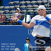 John Isner (USA) powers through a forehand against Yen-Hsun Lu (TPE) during their quarterfinal match.  John Isner defeated Yen-Hsun Lu in straight sets 6-1, 6-2 in Quarterfinal Action on Friday  in the Atlanta Tennis Championships at the Racquet Club of the South in Norcross, GA.