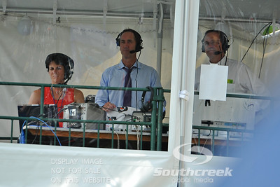 ESPN analyst Darren Cahill watches the quarterfinal match between John Isner (USA) and Yen-Hsun Lu (TPE).  John Isner defeated Yen-Hsun Lu in straight sets 6-1, 6-2 in Quarterfinal Action on Friday  in the Atlanta Tennis Championships at the Racquet Club of the South in Norcross, GA.
