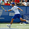 Yen-Hsun Lu (TPE) watches the John Isner (USA) ball go by during their quarterfinal match.  John Isner defeated Yen-Hsun Lu in straight sets 6-1, 6-2 in Quarterfinal Action on Friday  in the Atlanta Tennis Championships at the Racquet Club of the South in Norcross, GA.