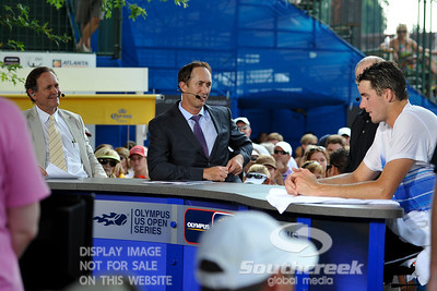 John Isner (USA) is interviewed by the ESPN2 crew after his quarterfinal match.  John Isner defeated Yen-Hsun Lu in straight sets 6-1, 6-2 in Quarterfinal Action on Friday  in the Atlanta Tennis Championships at the Racquet Club of the South in Norcross, GA.