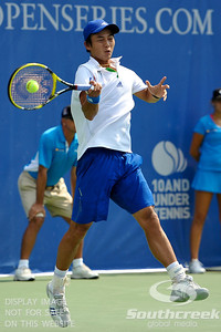 Yen-Hsun Lu (TPE) leans into a forehand against John Isner (USA) during their quarterfinal match.  John Isner defeated Yen-Hsun Lu in straight sets 6-1, 6-2 in Quarterfinal Action on Friday  in the Atlanta Tennis Championships at the Racquet Club of the South in Norcross, GA.