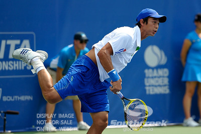 Yen-Hsun Lu (TPE) watchis his serve during his quarterfinal match.  John Isner defeated Yen-Hsun Lu in straight sets 6-1, 6-2 in Quarterfinal Action on Friday  in the Atlanta Tennis Championships at the Racquet Club of the South in Norcross, GA.