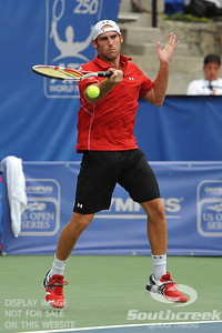 Robby Ginepri (USA) hits a forehand during the second round.  Gilles Muller defeated Robby Ginepri in three sets 7-6(6), 2-6, 6-2 in Second Round Action on Wednesday in the Atlanta Tennis Championships at the Racquet Club of the South in Norcross, GA.