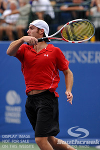 Robby Ginepri (USA) follows through on a forehand during the second round.  Gilles Muller defeated Robby Ginepri in three sets 7-6(6), 2-6, 6-2 in Second Round Action on Wednesday in the Atlanta Tennis Championships at the Racquet Club of the South in Norcross, GA.